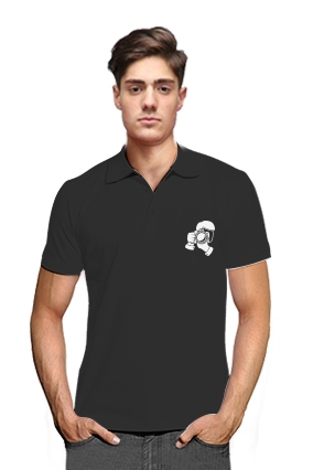 Click Black Cotton Polo T-Shirt