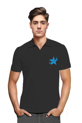 Personalized Starred Black Cotton Polo T-Shirt