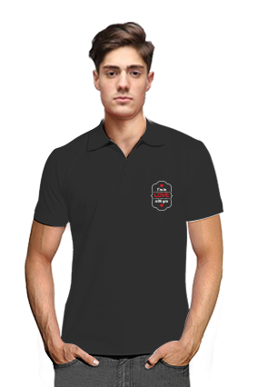 Printed Fall In Love Black Cotton Polo T-Shirt