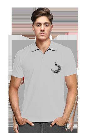 Printed Pecock Gray Cotton Polo T-Shirt