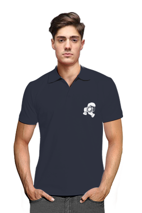 Click Navy Blue Cotton Polo T-Shirt