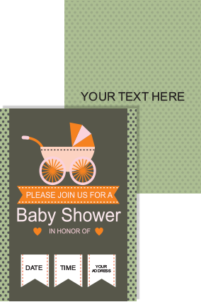 Customized Trolley Baby Shower Invitation Card