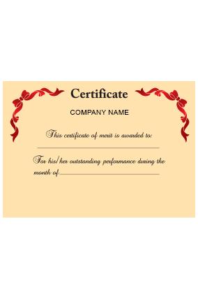 Printed Certificate of Merit