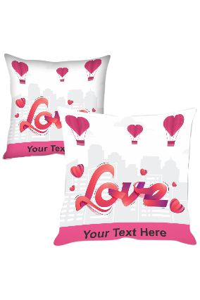 Flying Hearts in Sky Printed Cushion Cover