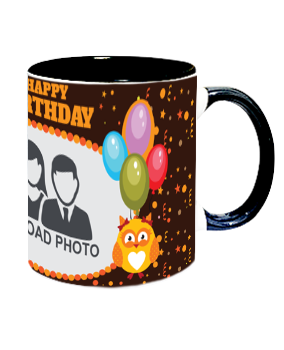 Personalized Sparkle Inside Black Mug With Black Handle