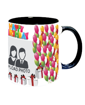 Personalized Balloons Inside Black Mug With Black Handle