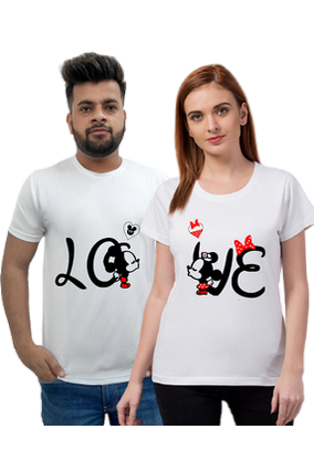 Matching Pair of LO VE 2 Half Sleeve Couple T-Shirt