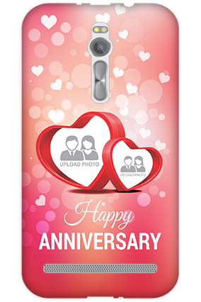 Transparent Silicon - Floral Hearts Anniversary Asus ZenFone 2 Mobile Cover