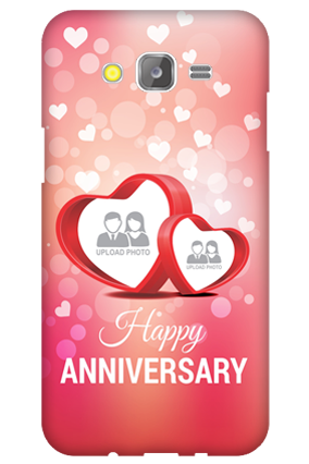 Transparent Silicon - Floral Hearts Anniversary Samsung Galaxy J5 Mobile Cover