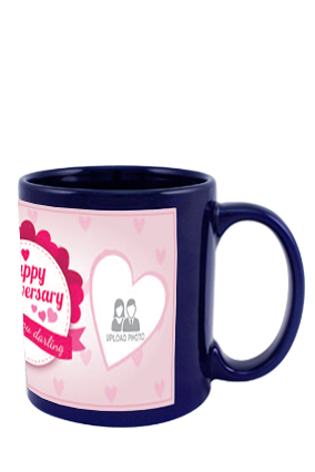 Anniversary Greetings Blue Patch Mug