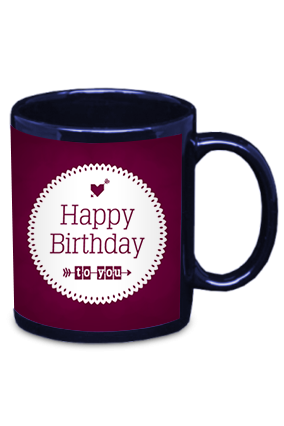 Birthday Wishes Blue Patch Mug