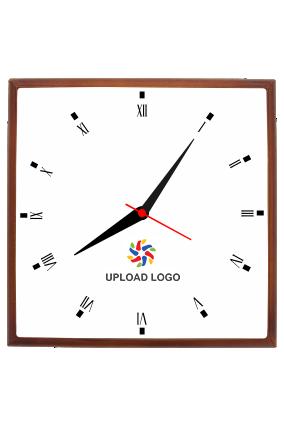 Upload Logo Square Wooden Wall Clock