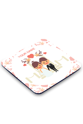 Just Married Square Coaster Printing
