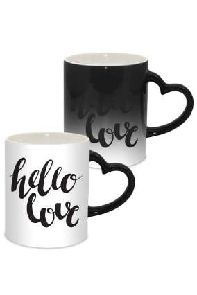 Hello Love Valentine Day Heart Handle Black Magic Mug