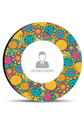 Abstract Colorful Flowers Round MDF Magnet