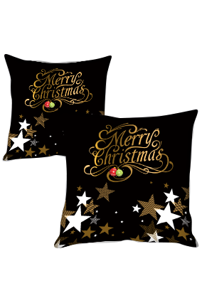 Gold and Silver Star Merry Christmas Cushion Cover