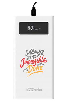 Impossible Done Customized  Jumbo 20000mAh Portronics Power Bank POR-783 White