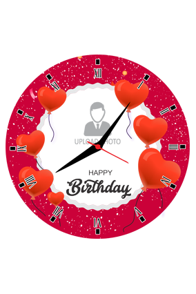 Red Hearts Customized Round Wall Clock For Birthday