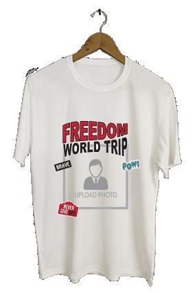 Freedom World Trip Customized Round Neck Dri-fit White T-shirt