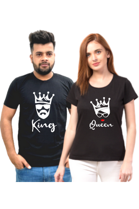 Matching Pair of King Queen Cotton Half Sleeve Couple T-Shirt