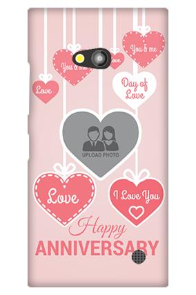 Nokia Lumia 730 Pink Heart Anniversary Mobile Cover