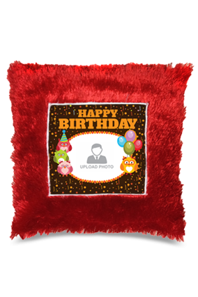 Colorful Birthday  Square Fur Cushion