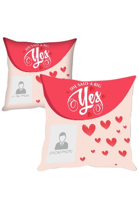 A Big Yes Personalized Printed Cushion Cover