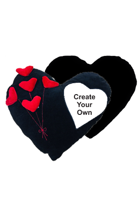 Create Your own Velvet Heart Shape Red & Black Cushion