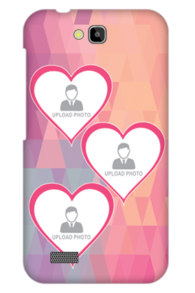 Customised Huawei Honor Holly 6 Pinkish Photos Heart Mobile Cover