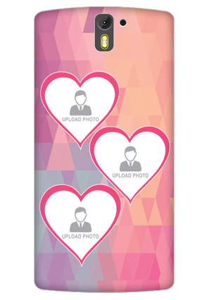 3D- OnePlus One Pinkish Photos Heart Mobile Cover