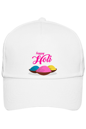 Colorful Gulal Personalized Holi Cotton White Cap