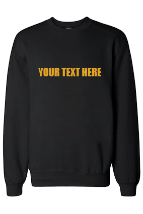 Custom Yellow Straight Text Print Black Sweatshirt