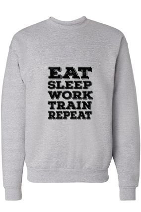 Eat Sleep And Work Black Print Gray Personalized Sweatshirt
