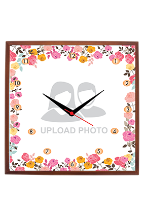 Flower Frame Square Wooden Wall Clock