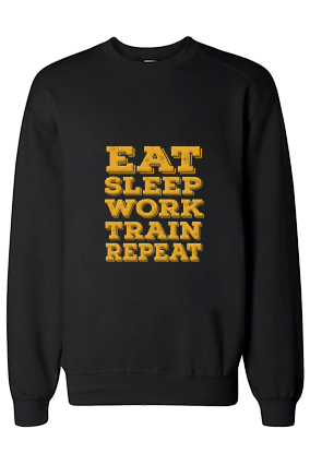 Eat And Sleep Yellow Print Black Sweatshirt