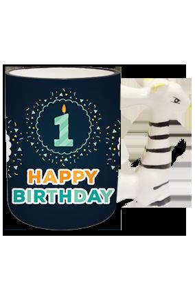 Greetings Zebra Handle Mug
