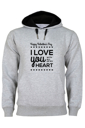 Heart Valentine's Day Black Print Gray Hoodie