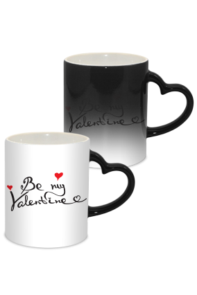 Be My Valentine Day Heart Handle Black Magic Mug