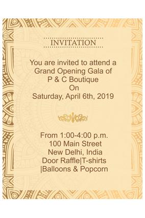 Ethnic Golden Border Portrait Invitation Card