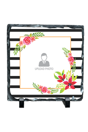 Decorative Frame with Flowers Square Photo Rock