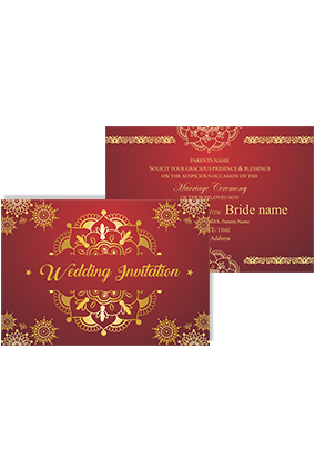 Personalised Maroon and Golden Landscape Wedding Invitation Card
