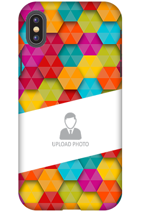 Personalized 3D-Apple iPhone X Colorful Hexagonal Plastic Mobile Cover