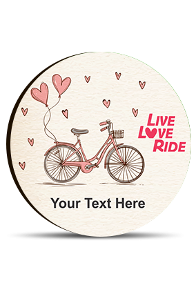 Live Love Ride Customized Valentine Round Photo Magnet