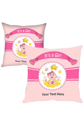 Cute Girl Personalized Baby Shower Cushion Cover