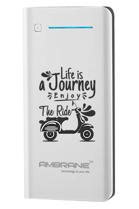 Life is Journey Customized 20800mAh Ambrane Power Bank White