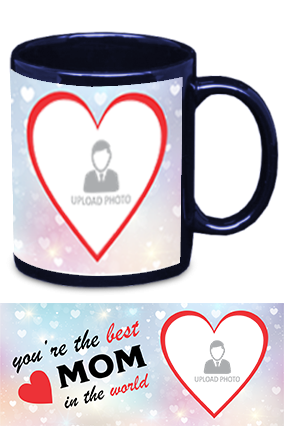 The Best MoM in The World Trendy Blue Patch Mug