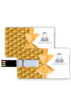 Golden Ribbon Photo Printed Plastic Credit Card Pen Drive