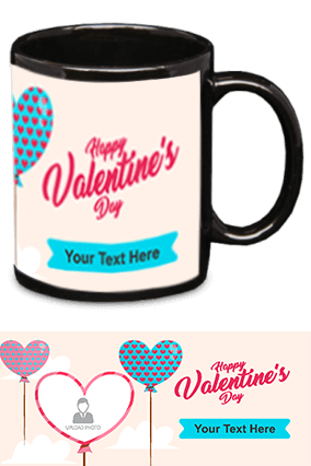 Happy Valentine's Day Black Patch Mug