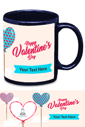 Happy Valentine's Day Blue Patch Mug