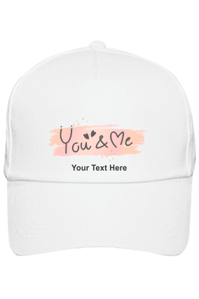 You & Me Customised Cotton White Cap